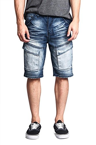 Acid Wash Color (Victorious G-Style USA Whiskered Wash Front Cargo Pocket Bleach Acid Wash Denim Jean Shorts DS2016 - Indigo - 38 - FF1E)