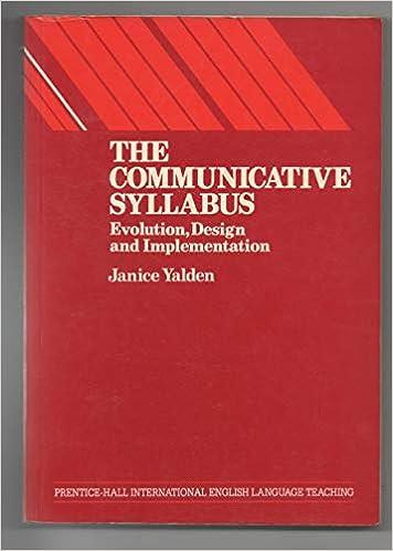 Amazon Com The Communicative Syllabus Evolution Design And Implementation Language Teaching Methodology Series 9780131527942 Yalden Janice Books
