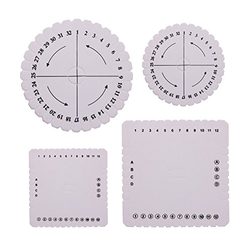 Kumihimo Disks Set of 4 Different Looms (Small & Large Round/Square Plate)