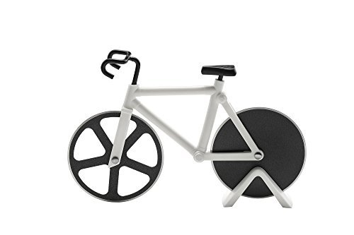 The Original Bicycle Pizza Cutter - Giro d'Pizza - Dual Stainless Steel Non-Stick Cutting Wheels - Display Stand - Pizza Cutter by Culinary Twist