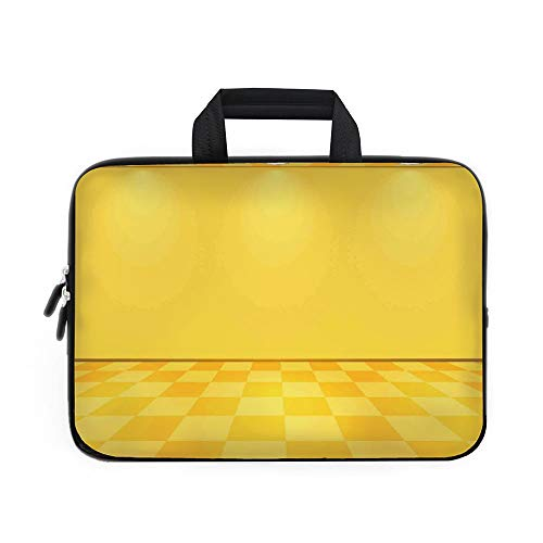 (Yellow Decor Laptop Carrying Bag Sleeve,Neoprene Sleeve Case/Shades of Lemon Yellow in Every Tone Chess Like Room with Lighting Image/for Apple Macbook Air Samsung Google Acer HP DELL Lenovo AsusYello)