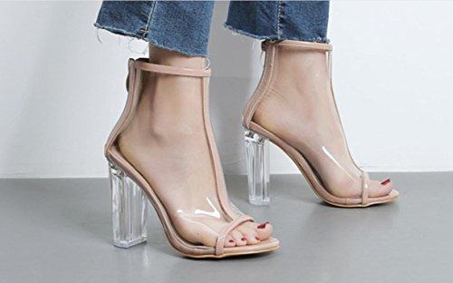 YCMDM donne di modo trasparente di spessore con caricamenti del sistema freddi di cristallo con i sandali alti con bocca dei pesci dei pattini , apricot , 38