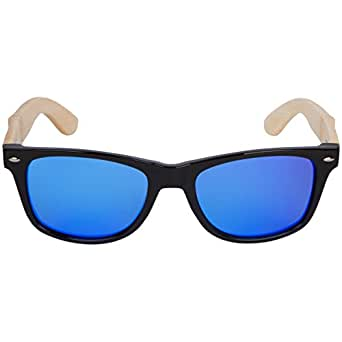 WOODIES Bamboo Wood Sunglasses with Blue Mirror Lens