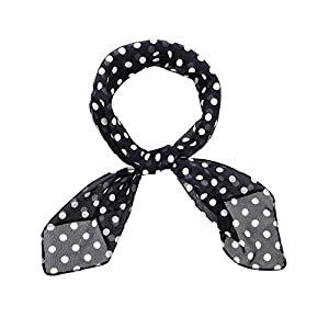 1950s Chiffon Scarf Polka Dot Retro Hair Tie 50s Sheer Square Neck Head Scarf Vintage Neckerchief for Women Girls