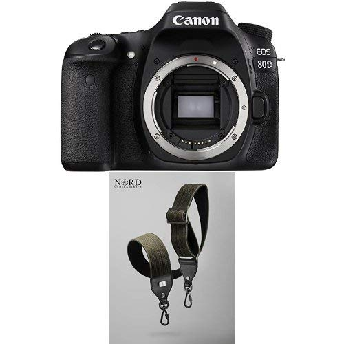 Canon EOS 80D Digital SLR Camera Body (Black) with Universal Camera Strap with Quick Release System