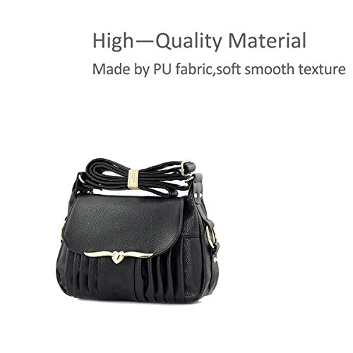 Crossbody Style Elegant Casual Black Pu Woman Shoulder Nicole amp;Doris Bag Bag Leather wqpFA