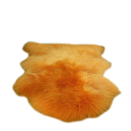 Sheepskin Rug, Natural Fur, soft single pelt Cushion (Orange) (Orange Rug Sheepskin)