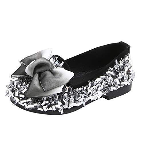CCFAMILY Toddler Infant Kids Baby Girls Bow Crystal Bling Casual Princess Shoes Loafers Silver