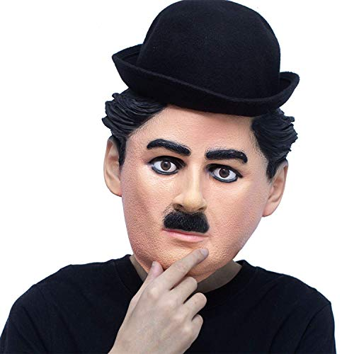 Celebrity Black Face Halloween Costume (PartyHop Charlie Chaplin Mask, Famous People Celebrity Human Mask, for Kid and)