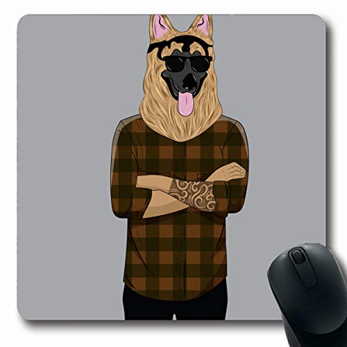 LifeCO Computer Mousepads Human Dog Dressed Plaid Anthropomorphic Up in Wildlife Anthropomorphism Body Cool Design Oblong Shape 7.9 x 9.5 Inches Oblong Gaming Mouse Pad Non-Slip Rubber