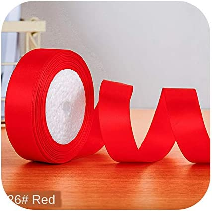 kawayi-桃 22メートル/ロールサテンリボン卸売ギフトパッキングクリスマスの装飾手作りdiyリボンロール生地(6/10/12/15/20/25 / 40mm)-Red-50mm