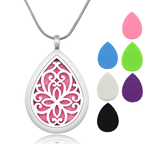 Lademayh Aromatherapy Essential Oil Diffuser Necklace - Stainless Steel Teardrop Locket Pendant Necklace with 24'' Chains and 12 Pads
