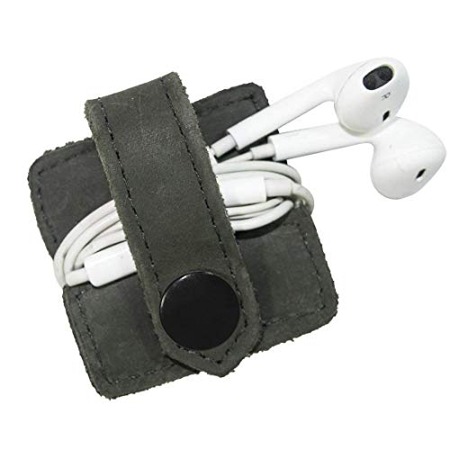 Durable Leather Headphone Wrap with Snap Handmade by Hide & Drink :: Smoke