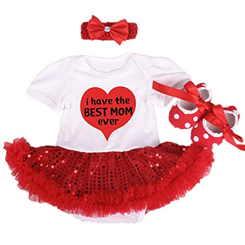 (Reborn Baby Doll Clothes Outfit for 20-23 Inch Reborns Newborn Babies Matching Clothing Headband Mom Red Heart Tutu Dress Shoes Three-Piece Set)