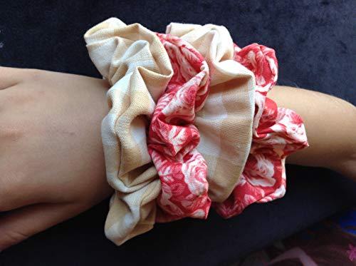 SCRUNCHIES, Set of 4, 2 Pair ROSES Plaid Red and Beige Flowers Ponytail Holders Vintage - Pony Plaid Vintage