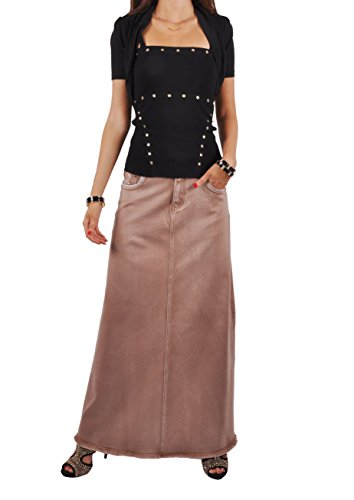 Long Khaki - Style J Fringed Fashionista Long Khaki Skirt-Brushed Brown-38(18)