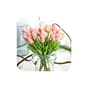 10Pcs Pu Fake Artificial Silk Tulips Flores Artificial Bouquets Party Artificial Flowers for Home Wedding Decoration,Pink 34