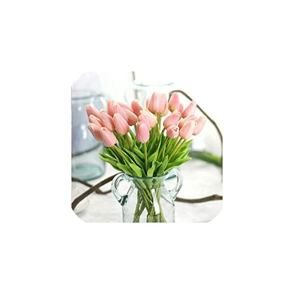 10Pcs Pu Fake Artificial Silk Tulips Flores Artificial Bouquets Party Artificial Flowers for Home Wedding Decoration,Pink