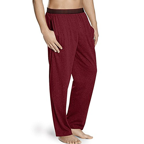 Pants Striped Pajama Flannel (Hanes Men's Striped Band Cotton Jersey Sleep Pant, Red, Small)