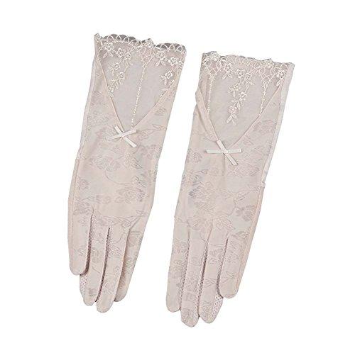 穀物気を散らす反毒女性のエレガントなレース日の保護手袋夏のドライビングアンチスキッド手袋、ベージュ