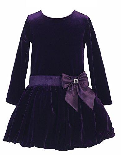 Velvet Holiday Dress (Little Girls Stretch Velvet Bubble Holiday Fall Christmas Dress 5 Purple)