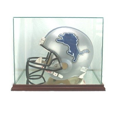 Wood Helmet (Full Size Football Helmet Glass Display Case with Mahogany Stained Wood Base)