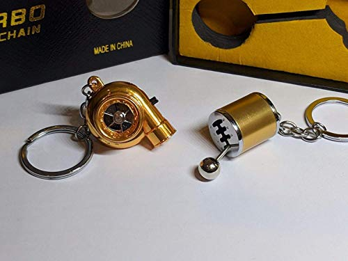 Be-Creative Electric LED Turbo Charger Keyring 2 Turbo Sounds,Spin,Light Retail Packing (Gold Gear + Gold Turbo):