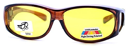 Yellow Night Driving Fit Over Glasses, Size Medium - Polarized, Brown