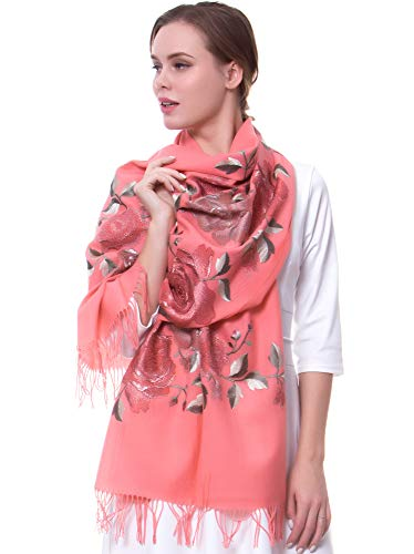 MORCOE Women's Top-class 100% Wool Delicate Embroidered Soft Long Floral Scarf Warm Wrap Party Wedding Shawl Gift ... (Pink) (Dress Scarf Collection)