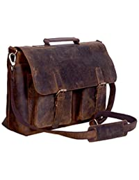 15 Inch Retro Buffalo Hunter Leather Laptop Messenger Bag Office Briefcase College Bag Fits Upto 15.6 Inch Laptop