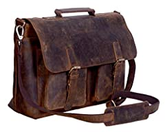 Description : Distressed Hunter buffalo leather bag Durable and high end canvas liningmade from high end buffalo leather Unisex vintage inspired design perfect for professionals,students etcIdeal for 15-inch or smaller laptop, macbook etc Roo...
