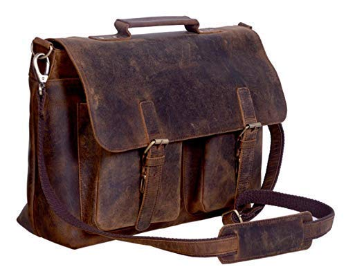 KomalC 15 Inch Retro Buffalo Hunter Leather Laptop Messenger