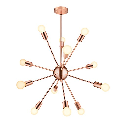 Sputnik Chandelier - 12 Lights Rose Golden Pendant Lighting, Modern Ceiling Light Fixture, UL LISTED, Housen Solutions Slope Pendant Adapter