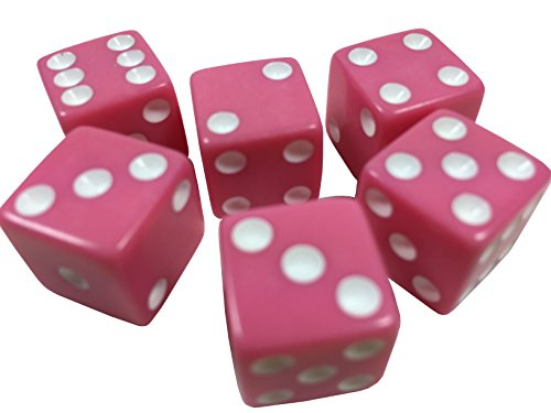 Lot of 200 Game Dice - 16mm - Nearly 20 colors available! (Hot Pink (white pips)) Pink Dice Game