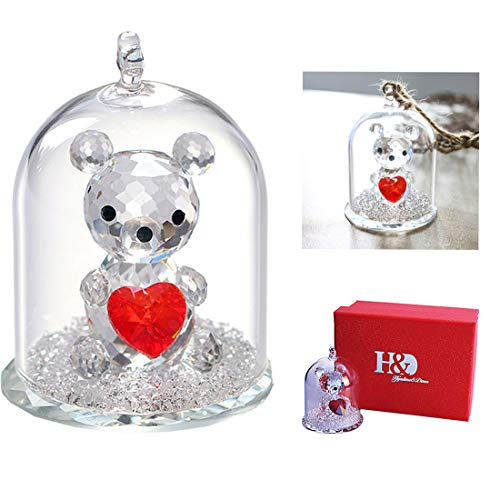 H&D Crystal Figurine Collection Ornament Statue Animal Collectible (Clear-Bear)