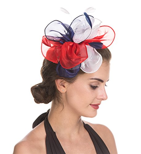 - SAFERIN Fascinators Hat Flower Mesh Feathers on a Headband and a Clip Tea Party Headwear for Girls and Women (TF3-Flag Floral)