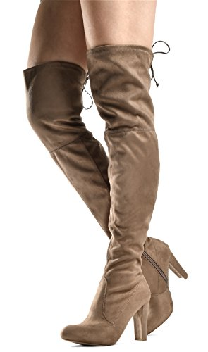 - LUSTHAVE Blake Women's Sexy Over The Knee Pullon Boot - Drawstring Stretchy Comfortable Block Heel - Side Zipper Natural SU 9