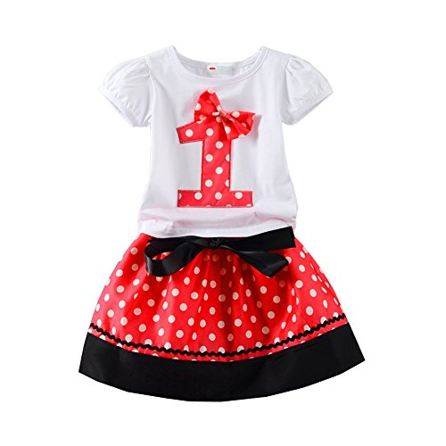 Mud Kingdom Baby Girls Birthday Outfits I Am 1 Year Clothes Skirt Sets Red 12M]()