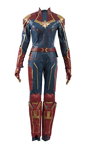 Captain Marvel Carol Danvers Superhero Cosplay Costume Leather Girl Outfit (Small Female, -