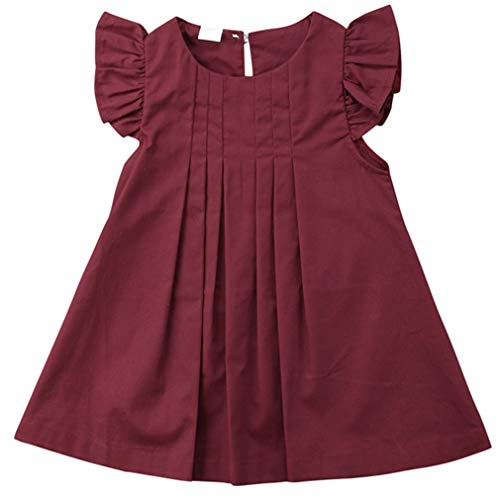 (Niyage Baby Toddler Girls Flutter Sleeve Pleated Casual A Line Dress Burgundy 80)
