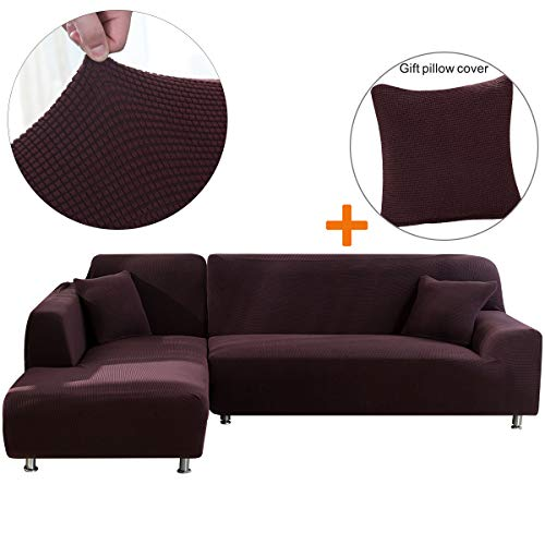 Sectional Sofa Cover 1PCS DIY(Buy Two For Complete Sofa)-L Couch Cover-Soft Polyester Fabric Slipcovers Form Fit Stretch Furniture Slipcover-Microfibra Collection (L-Shape Sofa Left 3 Seater, Brown) (Sofa Cheap Buy)