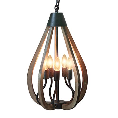 Eumyviv 5 Lights Droplet Wood Farmhouse Kitchen Chandelier Light, 13.3