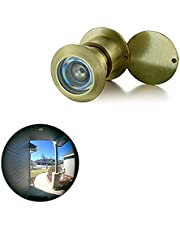 """TOGU TG3828YG-SC UL Listed Solid Brass HD Glass Lens 220-degree Door Viewer Peephole with Heavy Duty Privacy Cover for 1-3/5"""" to 2-1/6"""" Doors, Satin Gold Finish"""