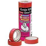 Fita Adesiva, Adelbras 0803090004, Vermelho, Pacote de 10