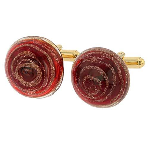- GlassOfVenice Murano Glass Venetian Sparkles Cufflinks - Ruby Red
