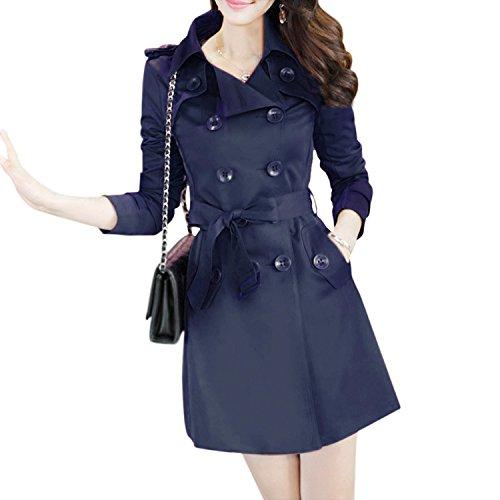 Trenchcoat - SODIAL(R)Frauen Trenchcoat zweireihiger Umlegekragen Lange aermel Mantel mit Guertel Dunkelblau XXXL