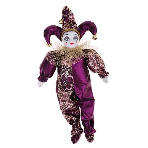 - SM SunniMix 30cm Porcelain Triangel Doll Harlequin Doll Figures Delicate Arts Crafts for Valentine Gift