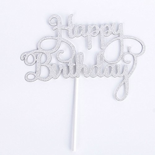Gaosaili Happy Birthday Cake Topper Decoration Sliver
