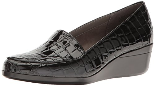 Croco Patent Shoes (Aerosoles Women's True Match Slip-on Loafer, Black Crocodile, 8 M US)