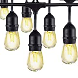 LED Outdoor String Lights, AKAPH Heavy Duty Commercial Weatherproof Globe Strands, 48 Feet Long with 15 Hanging Dropped Sockets, 18 LED Bulbs